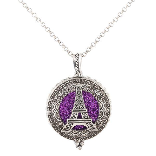 V1304 Torre Eiffel de Plata Aroma Difusor de Aroma Collar Aceite Esencial Difusor de Cierre Magnético Locket Abierto Boho Collar regalos