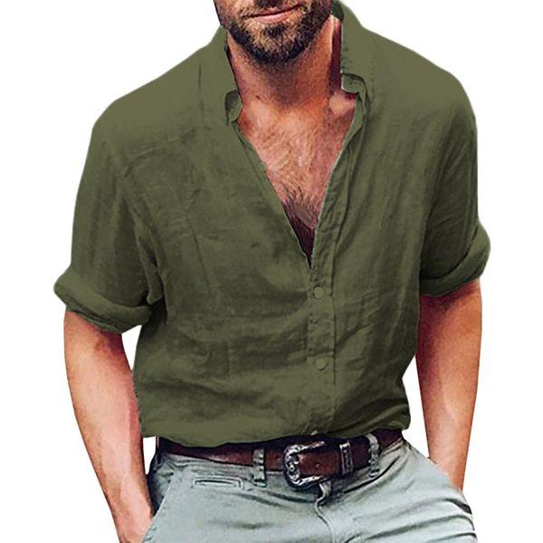 Lncdis verão nova moda diária mens manga longa camisa henley lençóis de algodão praia solta fit tops blusa freeship n4 y19070301