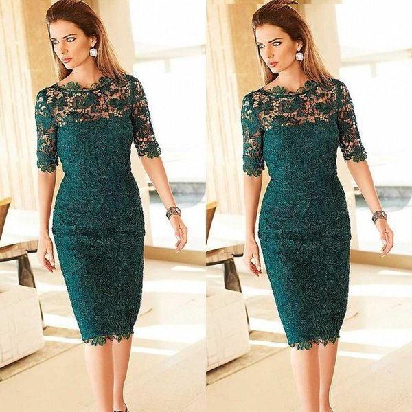 2019 Gorgeous Lace Mother of the Bride Groom Dresses Sheath Column Tea Length Emerald Green Half Sleeves Cocktail Party Gowns Custom Made