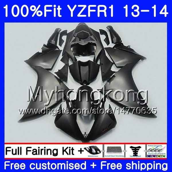 Corpo preto da injeção para YAMAF YZF YZF 1000 YZF R 1 2013 2014 242HM.2 YZF-1000 YZF R1 YZF1000 YZF-R1 13 14 completamente preto matte carenagem