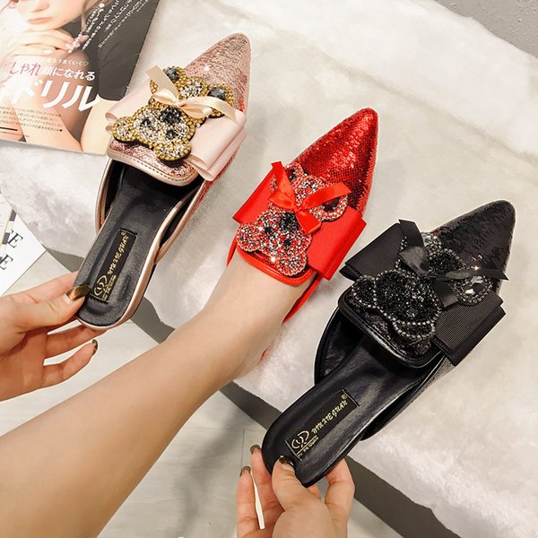 Impressed2019 Color Spelling Year Rhinestone Sandals Woman Flat Bottom Level With Bow 40 Code Women's Shoes