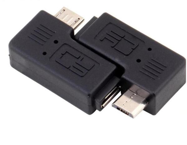 500pcs Right Left Angle Micro USB Male 90 Degree USB Male to Micro Female Plug Adapters