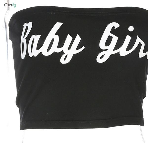 Baby Girl Бар Tank Письмо Женщины Девушка Sexy Черной Печать Обрезанных Трубный Tops Club Tops 80712