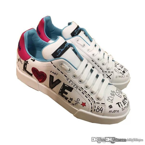 New Arrive 19ssDOLCE&GABBANA WOMEN'S SHOES LEATHER TRAINERS SNEAKERS NEW WHITE Sneaker With Box