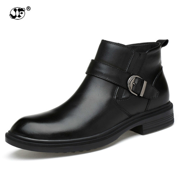Men's Boots Genuine Leather Ankle Boot 2018 Black Leather Shoes Motorcycle Boots Winter Shoes Warm Snow Footwear Large Size yji
