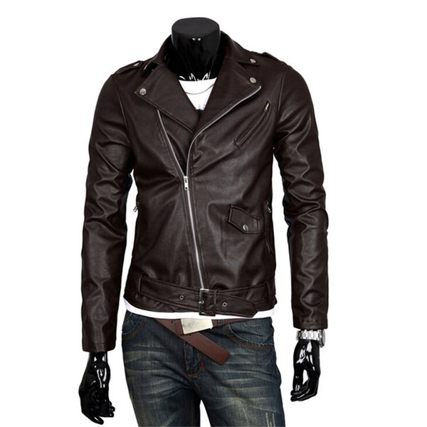 d634d827a7a2 Men Fashion PU Leather Jacket Spring Autumn New British Style Men Leather  Jacket Motorcycle Jacket Male