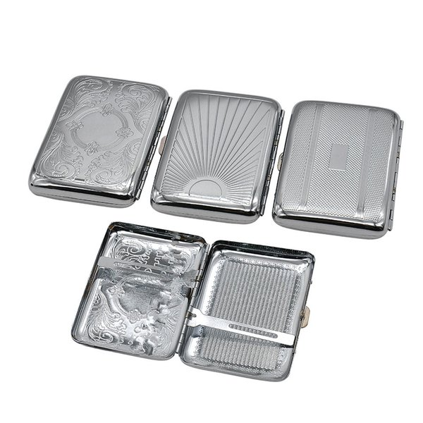 Metal Cigarette Case (69*95MM) Holding 12 Regular Size Cigarettes (85mm*8mm) Cigarette Holder Tobacco Case Box With 2 Clips Smoking Pipe