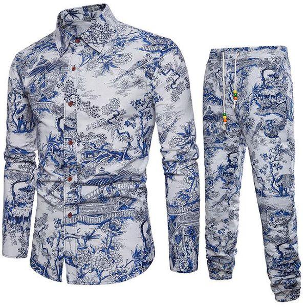 Mens Shirts Tracksuit Pants Sets Two Piece Beach Clothes Party Shirts Suit Men Streetwear Fashion Flower Printed Sweat Pant