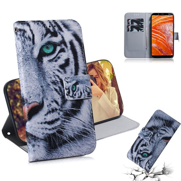 Wallet Case For NOKIA 3.1 Plus Filp Cover Hot selling Coloured pattern Wolf tiger lion Owl Dog With Card Slot Design