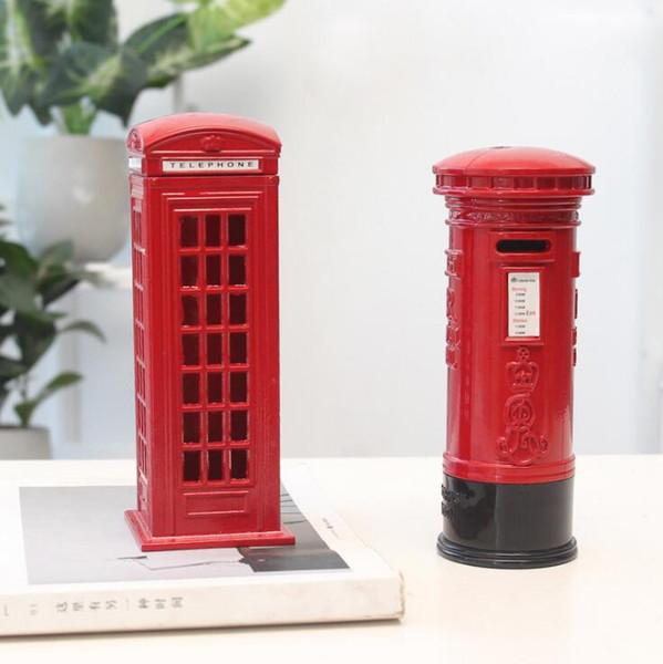 Modelo de teléfono Piggy Bank Retro Artesanía Caja de dinero Metal rojo Ahorre dinero Moneda Piggy Bank Decoración del hogar Recuerdo de Londres creativo