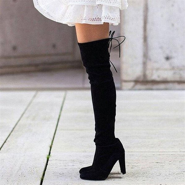 2019 New Spring Autumn Over The Knee High Boots Suede High-heeled Boots Velvet Thigh High Boots Sexy Flock Cozy Women Shoes