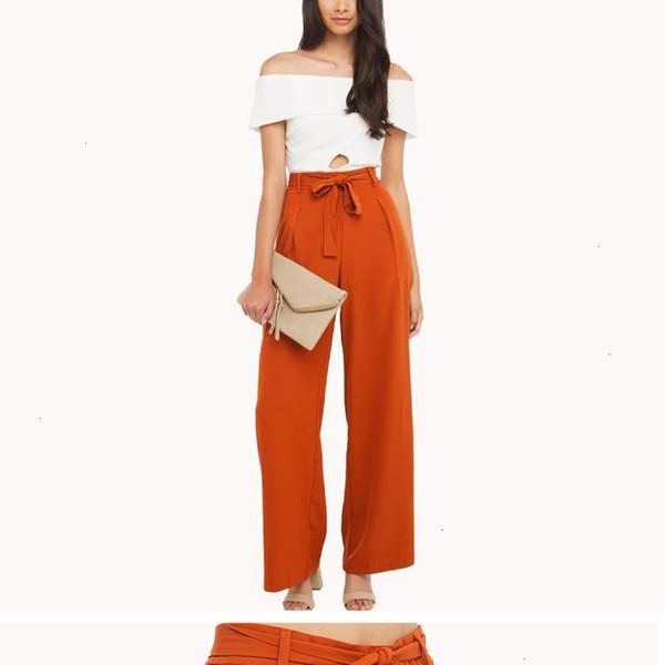 Leg orange en mousseline de soie Pantalons larges Femmes taille haute Tie Front Trousers Palazzo Ol Pantalon élégant Pantalons longs Culottes