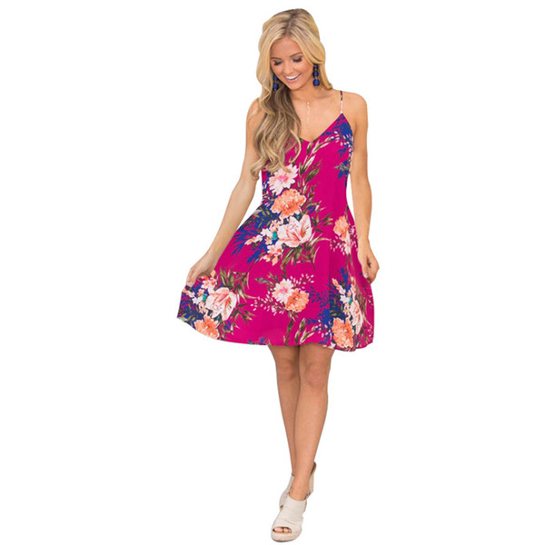 2020 Sexy Party Dresses 40% Impression florale numérique d'été Casual Wear Big Taille 2XL Clubwear Mode Robe Boho Dos nu Vêtements Tendance