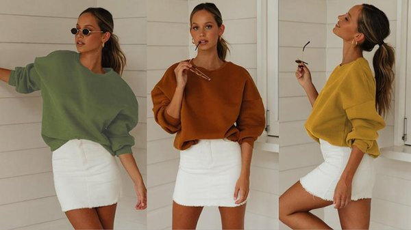 Sweat-shirts mouvement Vêtements pour femmes temps de loisirs Pull manches longues Col rond filles de mode large pin nouvelle année 2020 verte