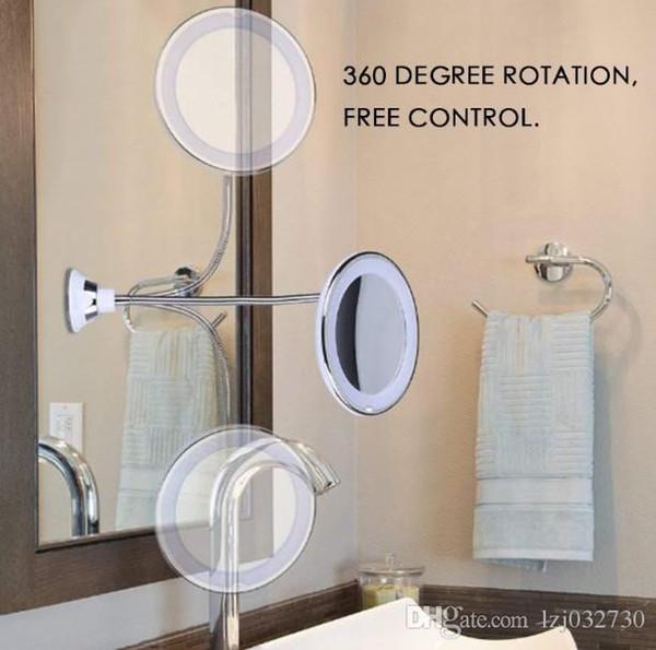 Compre Maquillaje Flexible Espejos Rotación De 360 grados De Cuello De  Cisne 10x LED Cuarto De Baño Espejo Para Maquillaje Artículos De Higiene ...
