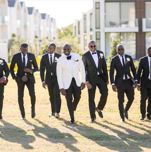 Wedding Tuxedos For Groom 2019 White Jacket Black Pants 2 Pieces Set Groomsmen Best Man Suit Men's Suits Bridegroom (Jacket+Pants+Bow ) YY46