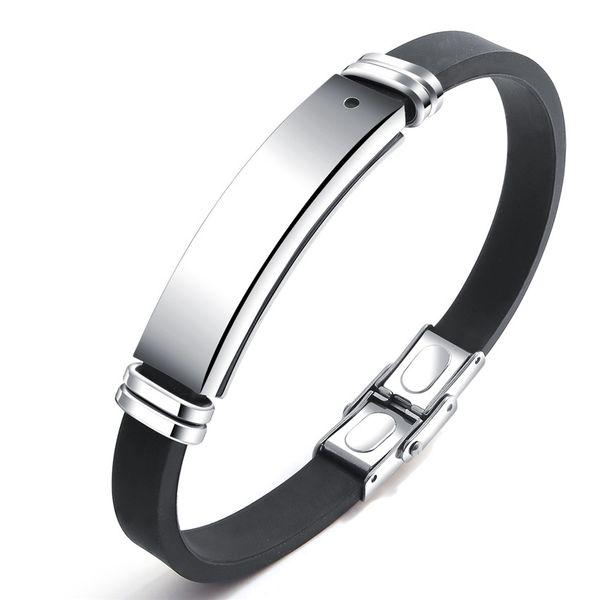 Paslanmaz Çelik Siyah Taş Manyetik Silikon Hologram Bilezikler Bilezik Erkekler Moda Parti Dostluk Hediye Best Friend Takı + OB1276