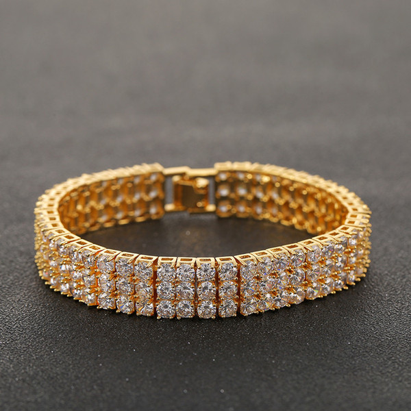 Men Iced Out Round Cut 3 Row Tennis Chain Bracelet Zirconia Triple Lock Hiphop Jewelry Luxury CZ Bracelets