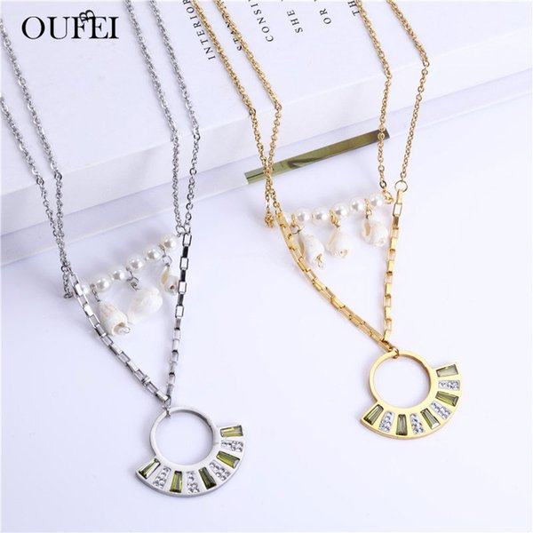 OUFEI Conch Pearl Necklace Earrings Set Stainless Steel Jewelry Sets Charms Multi Layer Necklace Fashion Jewelry Accessories
