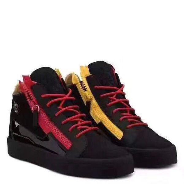Nova 2019 couro envernizado Womens Winered Mens com Corduroy Patchwork Low Top Duplo Zip Sneakers, Marca calçados casuais 35-46Drop envio 06042