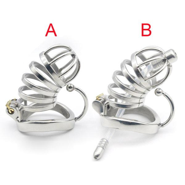 Male Chastity Device Cock Cage Stainless Steel Penis Ring with Catheter Bondage Lock Adult Sex Toy For Men