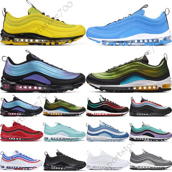 Compre Nike Air Max 97 Jogo Royal Mens Jersey All Star Retrocesso Futuro Tem Um Dia Preto Ember Brilho Vermelho Triplo Branco Preto Mulheres Athletic