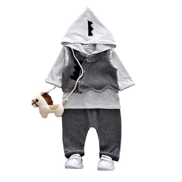 New Fashion Children Boys Girls Clothing Sets Cartoon Baby Vest Hoodies Pants 3Pcs/Sets Spring Autumn Kids Formal Tracksuits