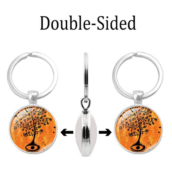2019 new creative keychain life ancient tree time gem double-sided keychain silver alloy key ring pendant jewelry wholesale