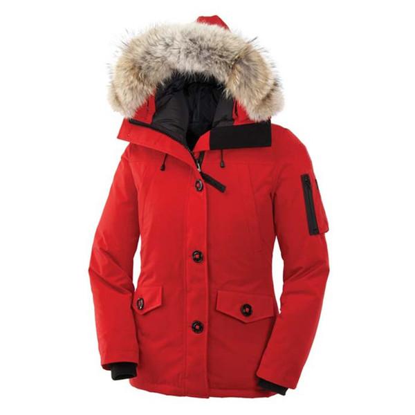 Women Goose Montebello Parka Outdoors Fur Down Jacket Hiver Warm Windproof Goose Down Coat Thicken Fourrure Hooded Jacket E03