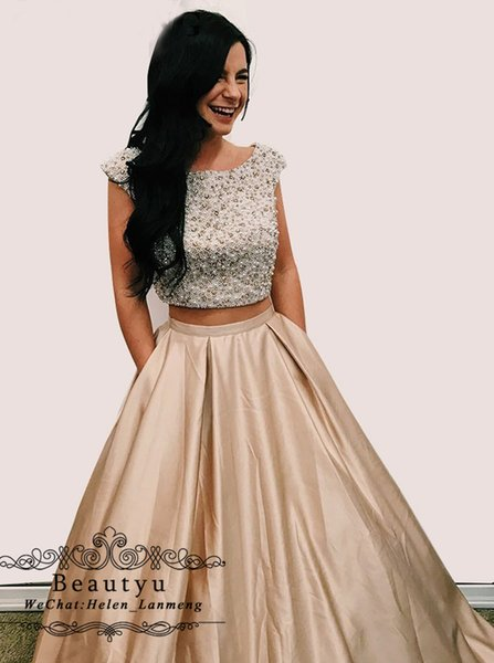 Champagne Two Pieces Prom Dresses with Pockets Luxury Pearls Crystal Open Back Satin A Line African Arabic Long Evening Formal Dress 2019