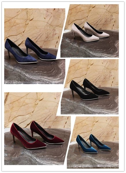 Imported original true velour texture fabric the cowhide lining foot pad Italian sole women's high heels dress business shoes