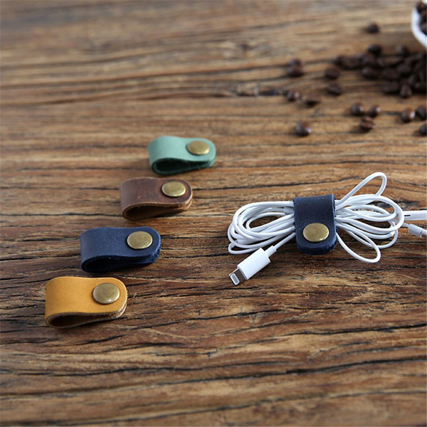 2 unids Cable de cuero Winder Organizador Desk Set USB Cable Línea de datos Holder Line Winder Wrap Cable Accesorios de escritorio Regalos
