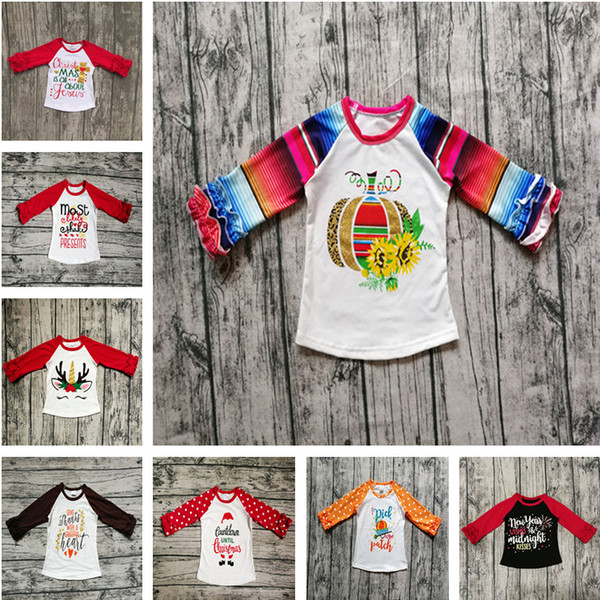 best selling Halloween Christmas Baby Clothes Fall Girls Ruffled Sleeve T-shirts Toddler Baby Unicorn Letter Pumpkin Cotton Raglan Tops Kids Clothing