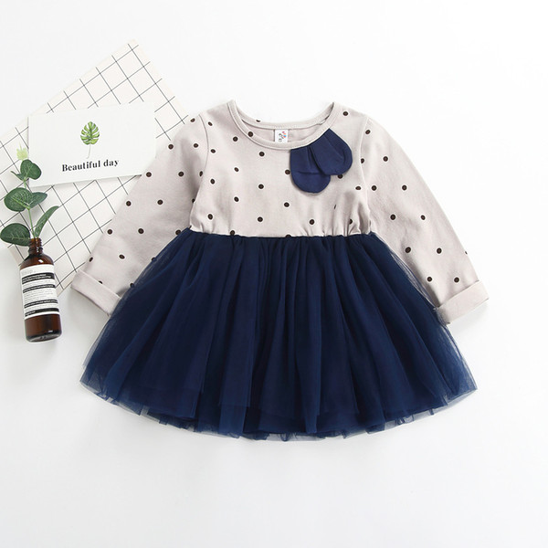 2019 New Spring Summer Toddler Kids Dresses For Girls Polka Dot Print Patchwork Princess Lace Dress Long Sleeve Casual Clothes