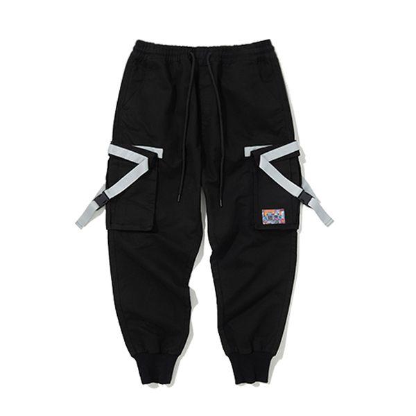 Diseño de Cinta Lateral 2019 Pantalones Harem Cargo Hombres Joggers Casuales Pantalones Tácticos Baggy Harajuku Streetwear Moda Hip Hop