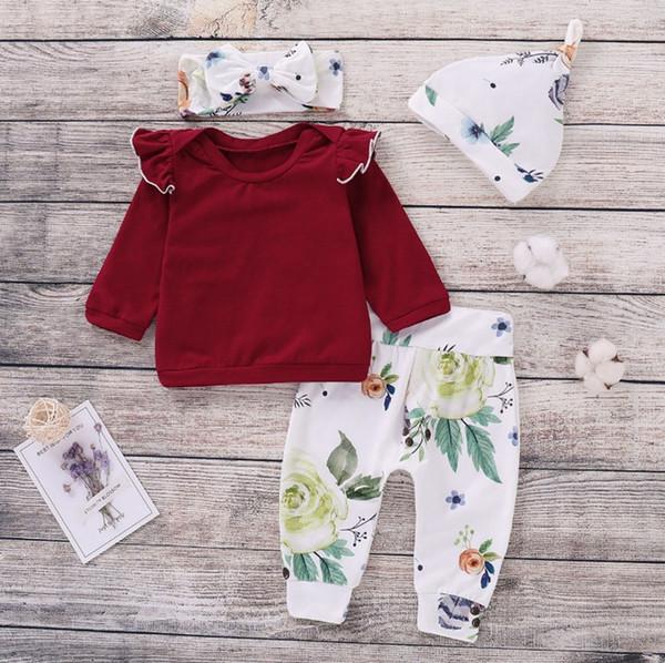 INS Çocuk Giyim Seti Çiçek Baskı Kızlar T Gömlek Pantolon Şapka kafa 4 ADET Setleri Bebek Kız Kıyafetler Vintage Bebek Giysileri YW2082