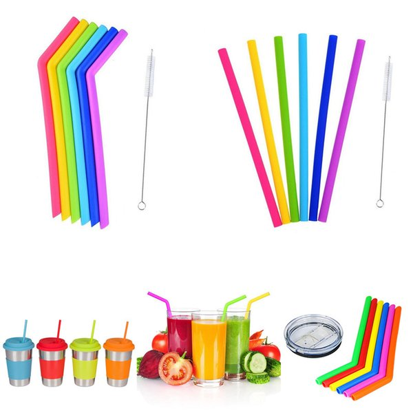6pcs/set with Brush 25cm New hot sell food grade Silicone drinking straw colorful Silicone straw with brush recyclable silicone tubee