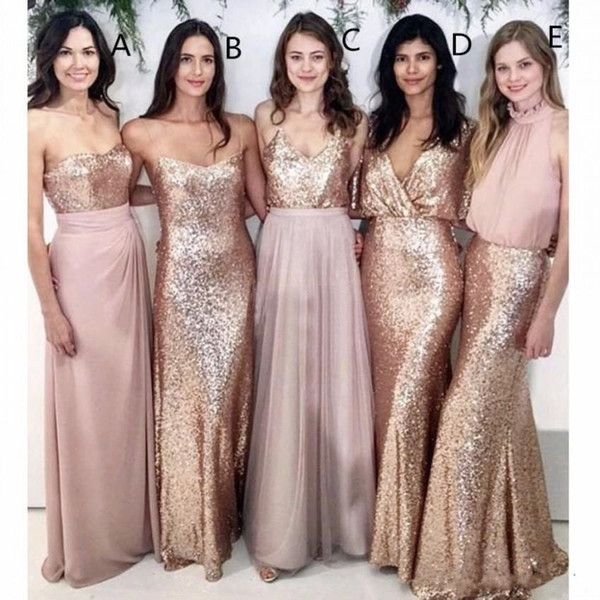 Modest Blush Pink Bridesmaid Dresses Beach Wedding with Rose Gold Sequin Mismatched Maid of Honor Gowns Women Bridesmaids Party Formal Wear