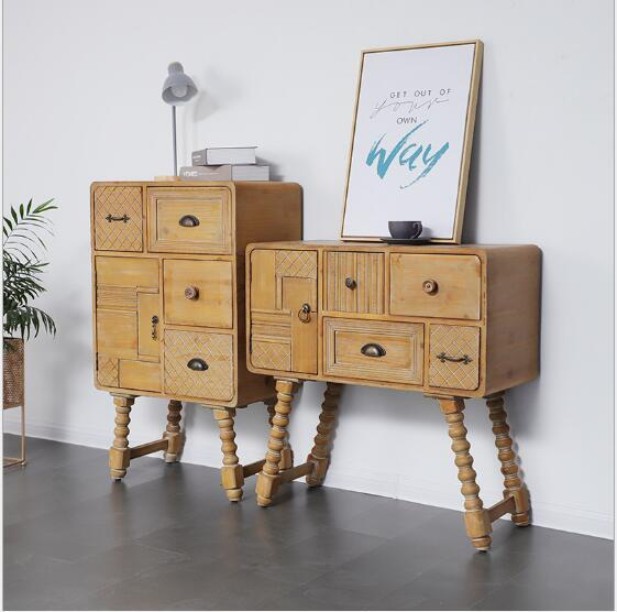 2019 Console Cabinet American Style Retro Carved Solid Wood Five Cupboard  Living Room Bedroom Storage Cabinet Light And Luxurious Porch Cabinet From  ...