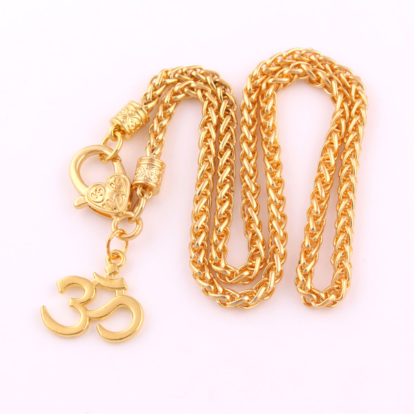 Gold Plated Hindu Buddhist OM Charm Pendnat India Yoga Religious Wheat Chain Necklace Jewelry