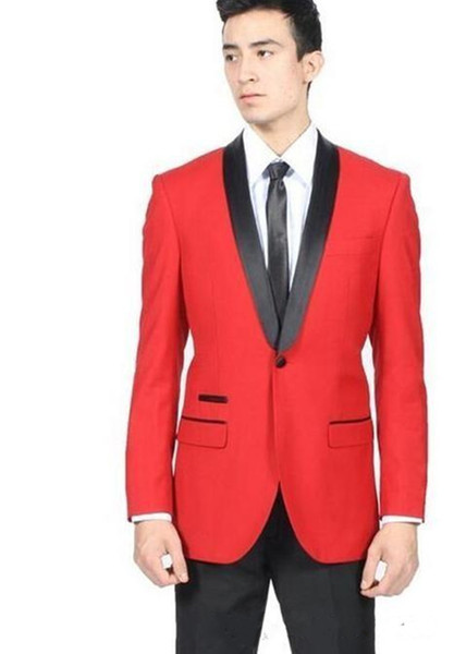 New Stylish Design Groom Tuxedos One Button Red Shawl Lapel Groomsmen Best Man Suit Mens Wedding Suits (Jacket+Pants+Tie) 966
