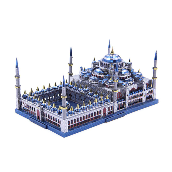 top popular Microworld 3D metal Puzzle Blue mosque Building Model DIY 3D laser cutting Jigsaw puzzle model Nano Puzzle Toys for adult Gift Y190530 2020