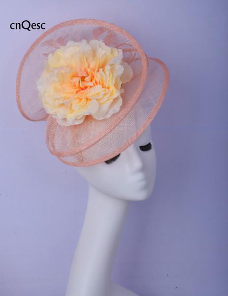 2019 Big Nude pink silk flower flower fascinator Women hat sinamay fascinator hat for wedding bridal shower mother of the bride w/feathers