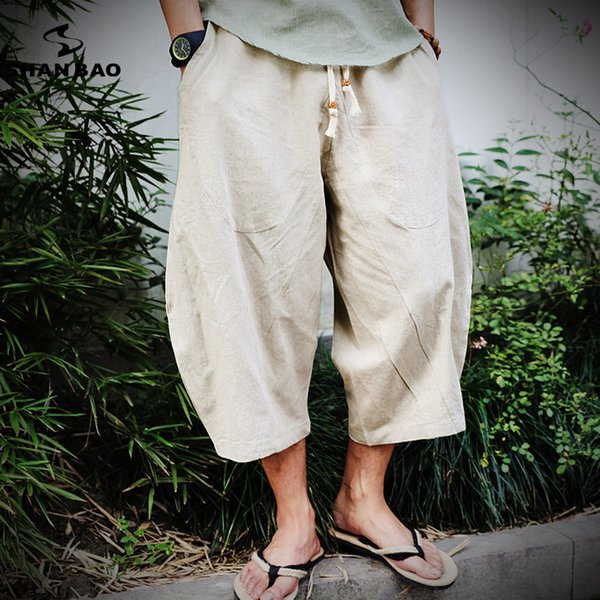 2019 Summer New Chinese Style Linen Loose Thin Section Harem Pants Men's Elastic Waist Strap Fashion Style Pants Large Size Y190509