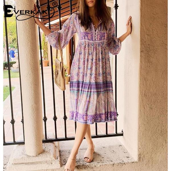 Abito lungo stampa boemo con maniche lunghe viola camicia viola abiti per le donne in cotone sciolto donne abito 2019 T3190604