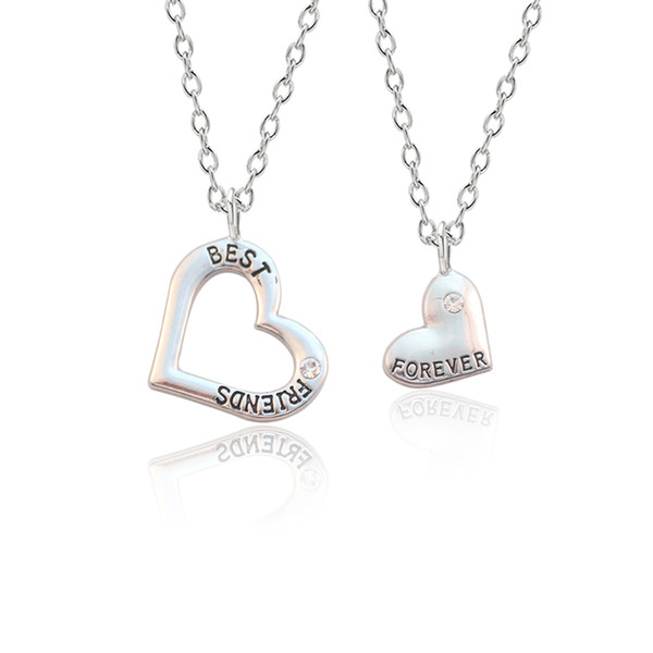 2019 2 шт. / Комплект новый полый твердый кулон в форме сердца романтический кулон ожерелье серебряный сплав пара, чтобы отправить мальчикам / подруга подарки