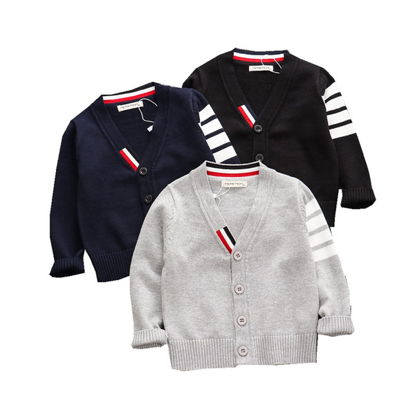 top popular Autumn Baby Boys Sweater Toddler Boys V-Neck Jumper Knitwear Long-Sleeve Cotton Cardigans Children Clothes Kids Sweater Coat 2021