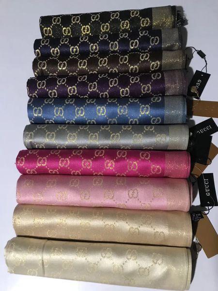moda uomo e donna marchio sciarpa ultime design oro splendente filo di cotone tessile sciarpa di alta qualità