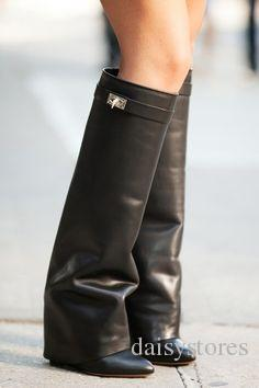 Best-selling Belt Buckle Wedge Boots Women Sexy Pointed Toe Lock Fold Knee High Boots Height Increasing Boots size 35-42