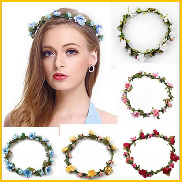 hair accessories crowns flower headbands women artificial floral hairbands fashion headwear for girls beach wedding garlands